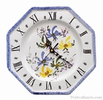 FAIENCE OCTAGONAL WALL CLOCK 3 COLORS FLOWERS & BLUE BORDER