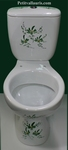 PORCELAIN TOILET-WC GREEN FLOWERS HAND MADE DECORATION