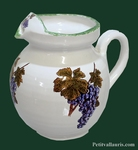 CERAMIC WATER JUG ABOUT 1 LITER BUNCH OF GRAPES DECOR