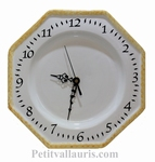 CERAMIC WALL CLOCK WHITE COLOR AND YELLOW-OCHER BORDER