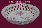 PLAT  A FRUITS AJOUREE D30 DECOR VIEUX MOUSTIERS ROSE