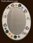 EARTHENWARE MIRROR OVAL FORM POLYCHROME DECORATION