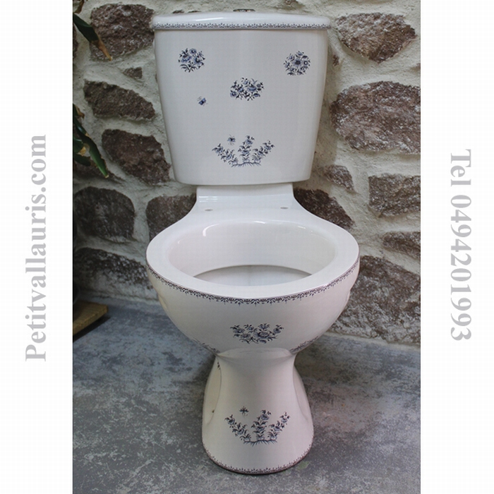 TOILETTES-WC PORCELAINE DECOR TRADITION VIEUX MOUSTIERS ROSE